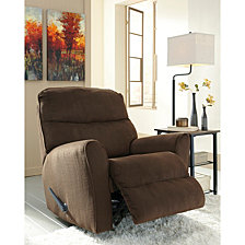 Signature Design By Ashley Cossette Rocker Recliner In Chocolate Fabric