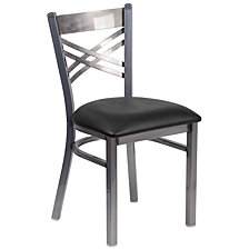 Hercules Series Clear Coated ''X''Restaurant Chair