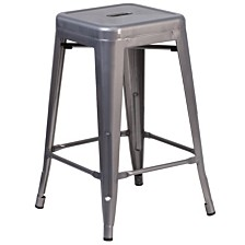24'' High Backless Clear Coated Metal Indoor Counter Height Stool With Square Seat
