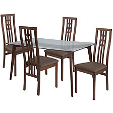 Clearview 5 Piece Walnut Wood Dining Table Set With Glass Top And High Triple Window Pane Back Wood Dining Chairs - Padded Seats
