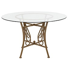 Princeton 48'' Round Glass Dining Table With Matte Gold Metal Frame