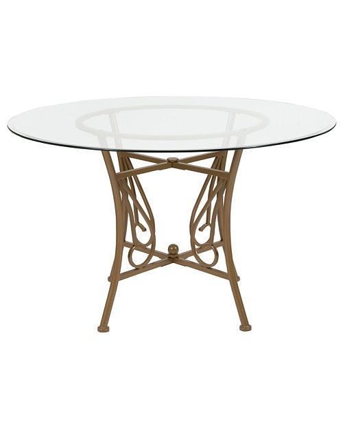 Flash Furniture Princeton 48 Round Glass Dining Table With Matte