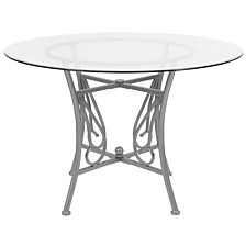 Princeton 45'' Round Glass Dining Table With Silver Metal Frame