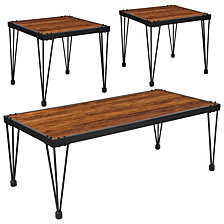 Baldwin Collection 3 Piece Coffee And End Table Set In Rustic Walnut Burl Wood Grain Finish And Black Metal Legs