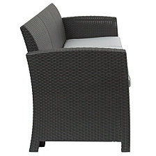 Dark Gray Faux Rattan Sofa With All-Weather Light Gray Cushions
