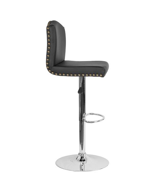 Admirable Bellagio Contemporary Adjustable Height Barstool With Accent Nail Trim In Black Leather Gmtry Best Dining Table And Chair Ideas Images Gmtryco