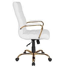 High Back White Leather Executive Swivel Chair With Gold Frame And Arms
