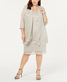 R&M Richards Plus Size Sleeveless Metallic Dress and Jacket