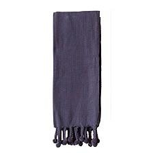 Navy Cotton Throw w/ Pom Poms