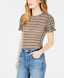 Free People Take One For The Team Striped Ruffle-Cuff Top