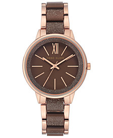 Anne Klein Women's Brown & Rose Gold-Tone Bracelet Watch 37mm