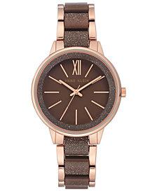 Anne Klein Women's Brown & Rose Gold-Tone Bracelet Watch 37mm