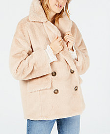 Free People Kate Faux-Fur Double-Breasted Jacket