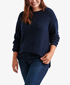 Lucky Brand Trendy Plus Size Cable-Knit Sweater