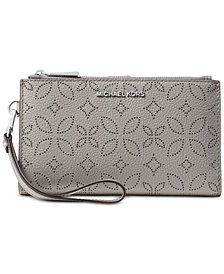 MICHAEL Michael Kors Adele Floral Perforated Double-Zip Wristlet