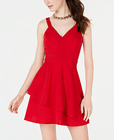 Teeze Me Juniors' Asymmetrical-Hem A-Line Dress
