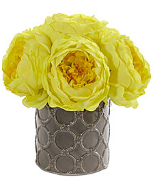 Nearly Natural Large Rose Artificial Arrangement in Decorative Gray Vase