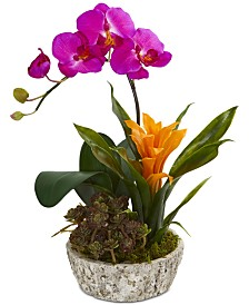 Nearly Natural Orchid, Bromeliad & Succulent Artificial Arrangement in Planter