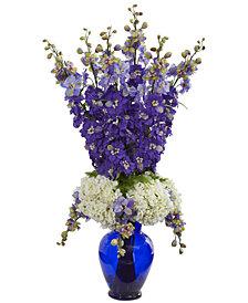 Nearly Natural Delphinium & Hydrangea Artificial Arrangement in Blue Vase