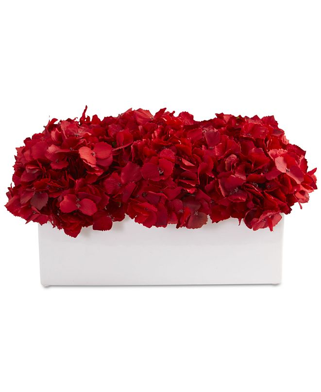 Nearly Natural Red Hydrangea Artificial Arrangement in Ceramic Vase