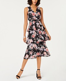 Nine West Floral Tiered Midi Dress