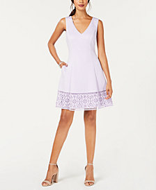 Vince Camuto Lasercut Fit & Flare Dress