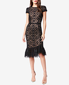 Betsey Johnson Allover-Lace Ruffle-Hem Midi Dress
