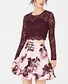 City Studios Juniors' Lace Top & Printed Skirt  2-Pc. Dress