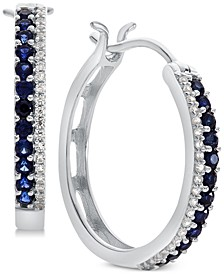 Sapphire (5/8 ct. t.w.) & Diamond (1/8 ct. t.w.) Hoop Earrings (Also in Certified Ruby & Emerald)