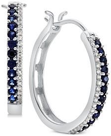 Sapphire (5/8 ct. t.w.) & Diamond (1/8 ct. t.w.) Hoop Earrings (Also in Certified Ruby & Emerald)