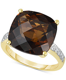 Smoky Quartz (9 ct. t.w.) & Diamond Accent Statement Ring in 14k Gold