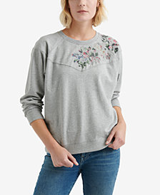 Lucky Brand Cotton Appliquéd Sweatshirt