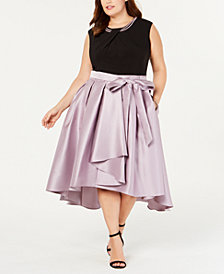 SL Fashions Plus Size Mikado Satin High-Low Dress