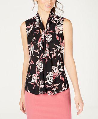 Nine West Sleeveless Tie Neck Printed Blouse Tops Women Macys