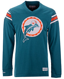 Mitchell & Ness Men's Miami Dolphins Team Captain V-Neck Long Sleeve T-Shirt
