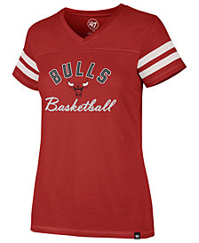 '47 Brand Women's Chicago Bulls Metallic Dinger V-Neck T-Shirt