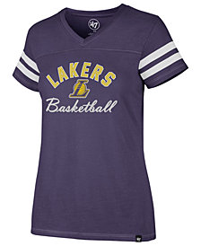 '47 Brand Women's Los Angeles Lakers Metallic Dinger V-Neck T-Shirt