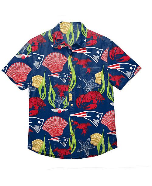 42d5b6080a8 Forever Collectibles Men s New England Patriots Floral Camp Shirt ...