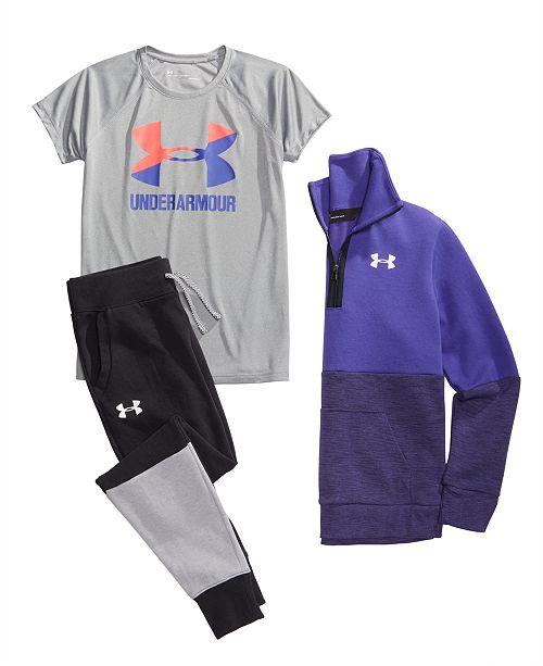 d8f6b6ad81 Under Armour Big Girls 1/2-Zip Colorblocked Sweatshirt, Logo-Print T ...