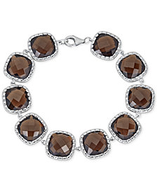 Smoky Quartz Link Bracelet (40 ct. t.w.) in Sterling Silver (Also in Green Amethyst)