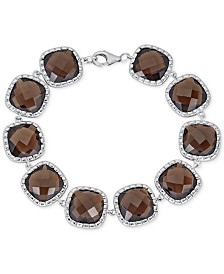 Smoky Quartz Link Bracelet (40 ct. t.w.) in Sterling Silver