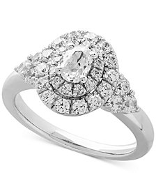 Cubic Zirconia Halo Engagement Ring in Sterling Silver
