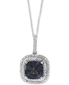 "EFFY® Grey Spinel (2-5/8 ct. t.w.) & Diamond (1/4 ct. t.w.) 18"" Pendant Necklace in 14k White Gold"