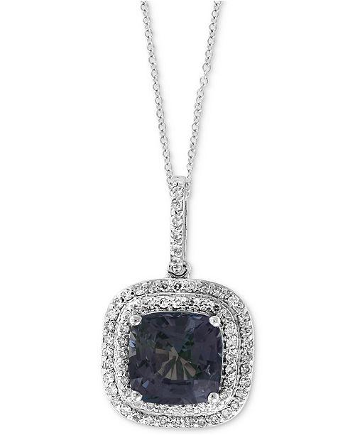 """EFFY Collection EFFY® Grey Spinel (2-5/8 ct. t.w.) & Diamond (1/4 ct. t.w.) 18"""" Pendant Necklace in 14k White Gold"""