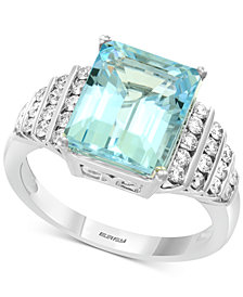 EFFY® Aquamarine (3-9/10 ct. t.w.) & Diamond (3/8 ct. t.w.) Ring in 14k White Gold