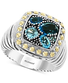 EFFY® Blue Topaz Cluster Ring (1-9/10 ct. t.w.) in Sterling Silver & 18k Gold