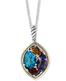 "EFFY® Multi-Gemstone 18"" Pendant Necklace (4-5/8 ct. t.w.) in Sterling Silver & 18k Gold"