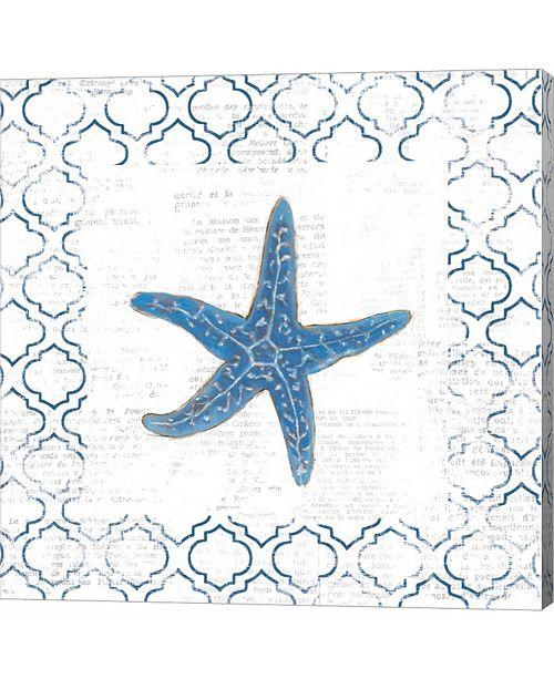 Metaverse Navy Starfish on Newsprint by Emily Adams Canvas Art