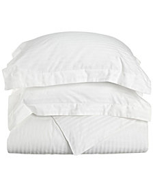 Superior 300 Thread Count Premium Combed Cotton Stripe Duvet Set - King/California King - White
