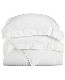 Superior 300 Thread Count Premium Combed Cotton Stripe Duvet Set - King/California King - White
